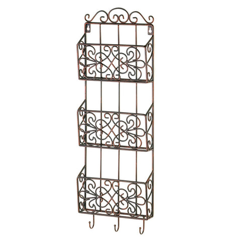 Triple Wall Rack Organizer with Hooks
