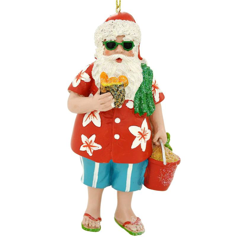 Tropical Beach Santa Ornament 1208239