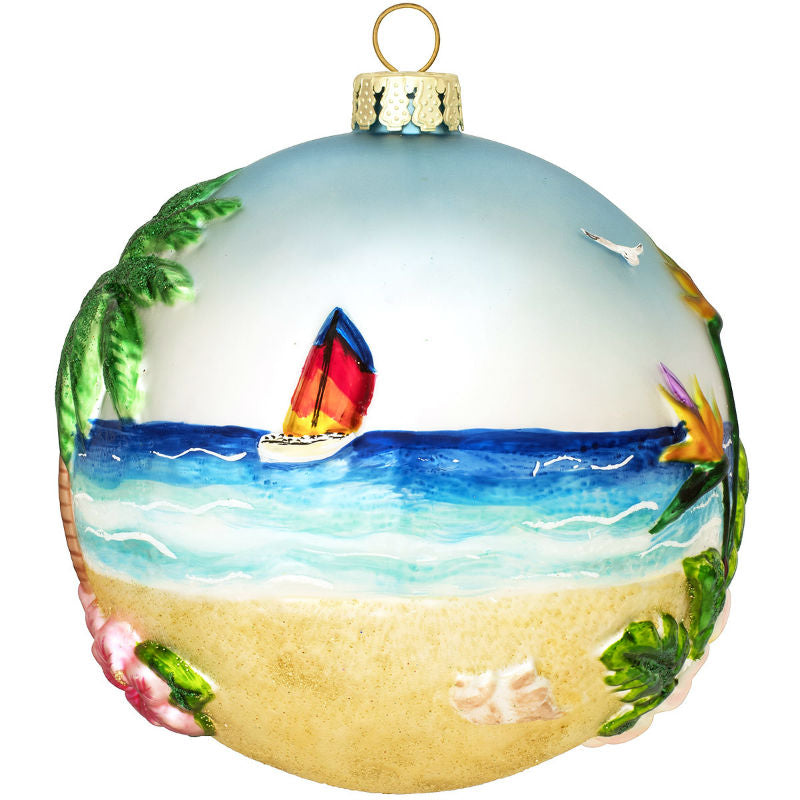 Tropical Island Sailboat Glass Ornament 1200358