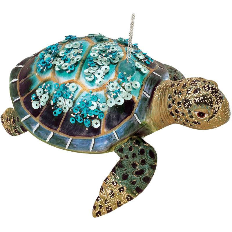 Turquoise Sea Turtle Glass Ornament 1202308