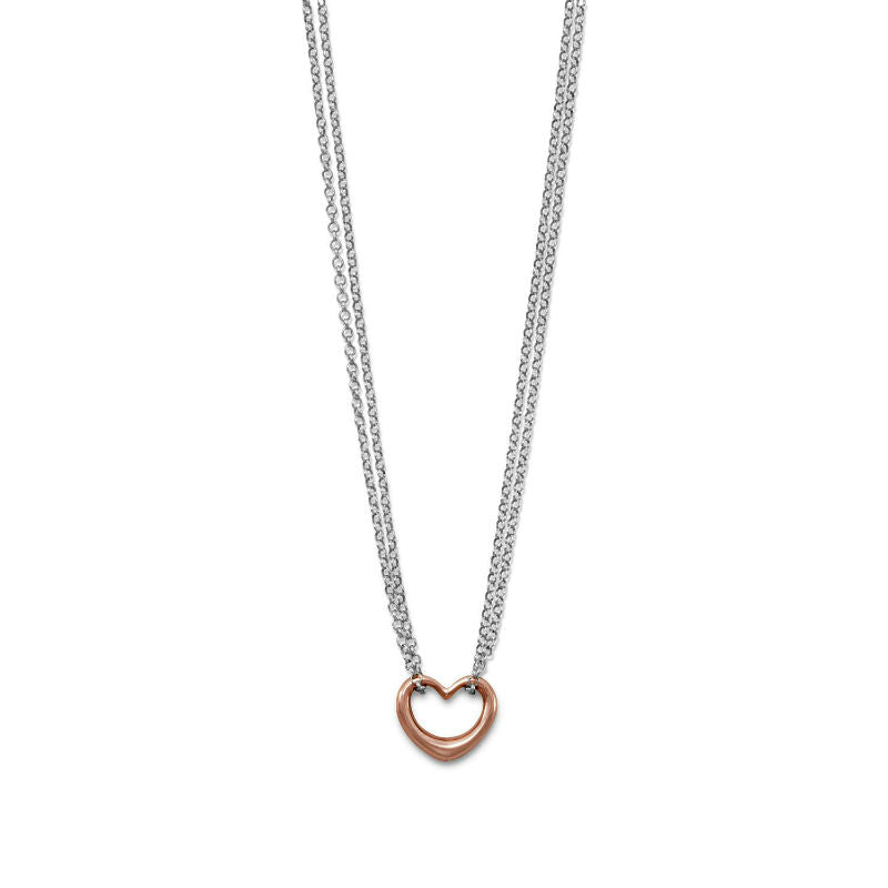 Two Tone Double Strand Open Heart Necklace 34134-18