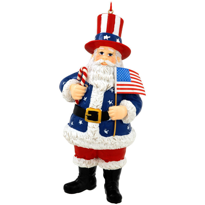 USA Santa With Flag Ornament 1166388