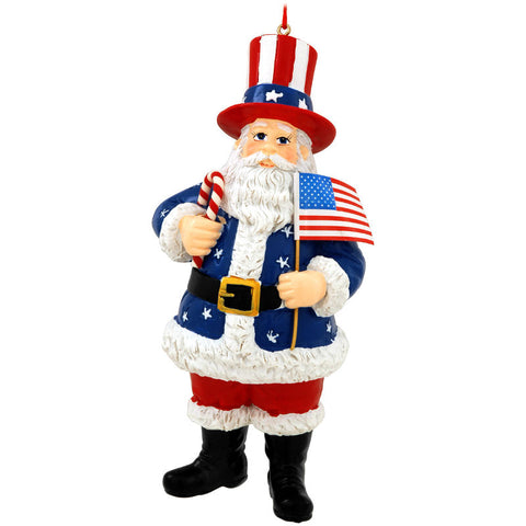 USA Santa With Flag Ornament