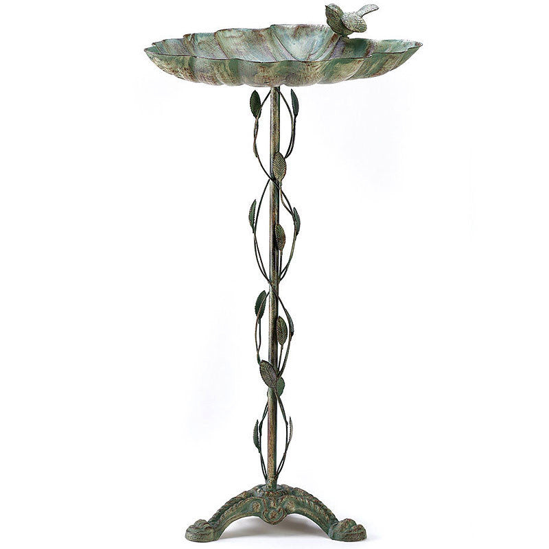 Verdigris Wrought Iron Leaf Bird Bath 39448