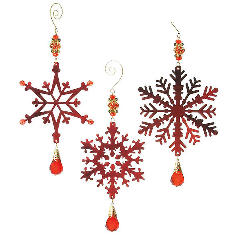 Vintage Beaded Metal Snowflake Christmas Ornaments 17517
