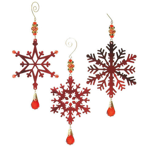 Vintage Beaded Metal Snowflake Christmas Ornaments