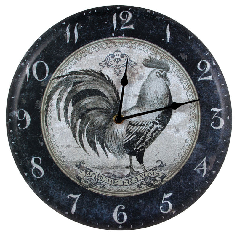 Vintage Black & White Rooster Clock 72354