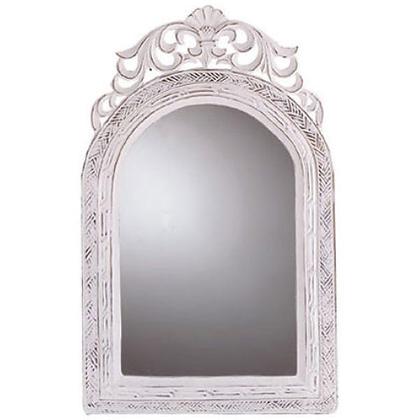 Vintage French White Country Mirror 31586
