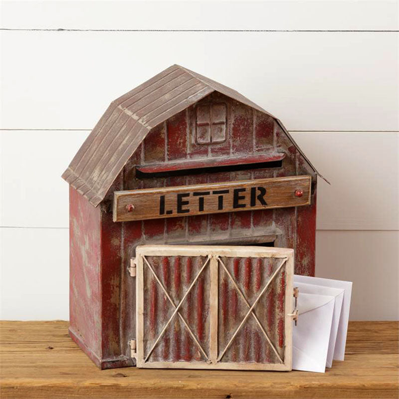 Vintage Red Barn Mailbox 8T1435