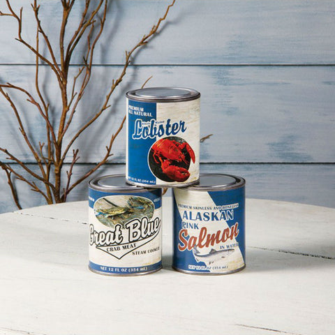 Vintage Seafood Tin Cans
