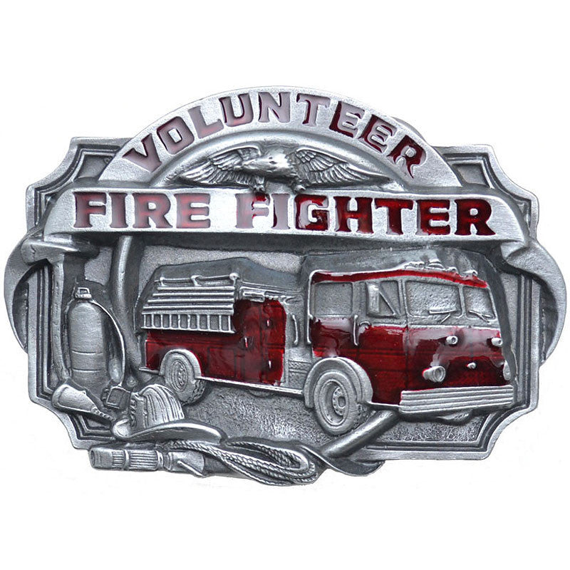 Volunteer Firefighter Red Enamel Belt Buckle V-85