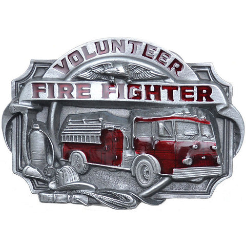 Volunteer Firefighter Red Enamel Belt Buckle