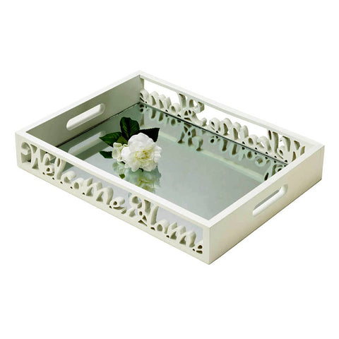 Welcome Home Mirrored Serving Tray