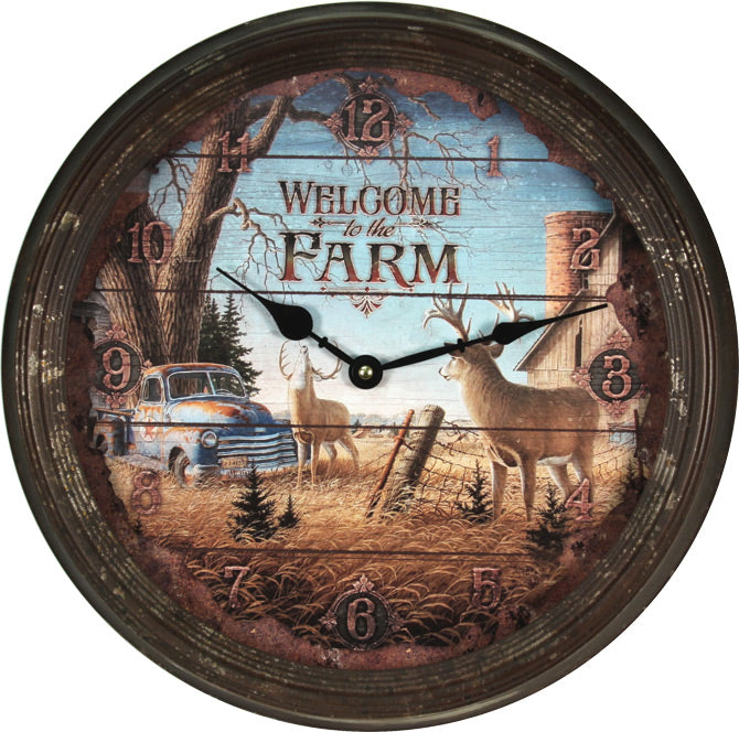 Welcome To The Farm Deer Wall Clock 1034