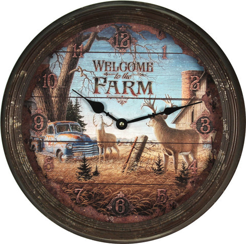 Welcome To The Farm Deer Wall Clock