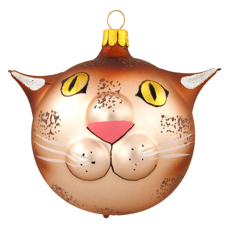 Whimsical Cat Face Glass Ornament 1179725