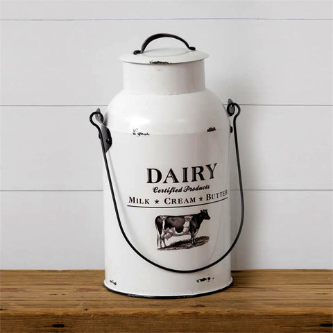 White Enamelware Dairy Certified Products Cow Milk Can