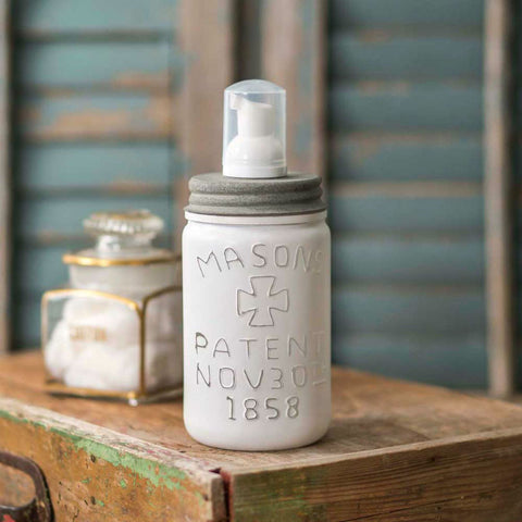 White Pint Mason Jar Foaming Soap Dispenser