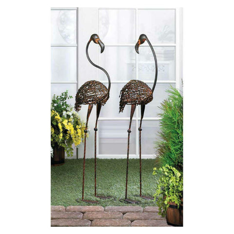 Wild Flamingo Art Deco Bird Statues