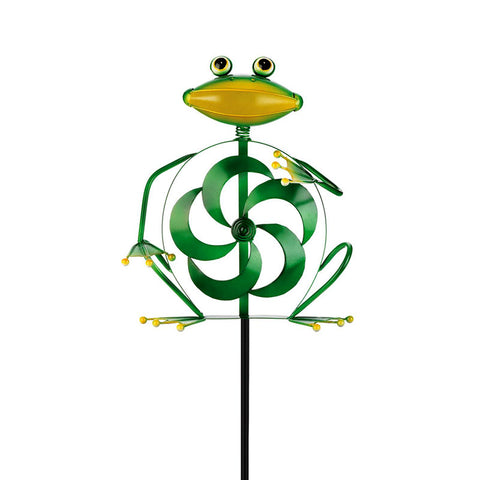 Wind Powered Twirling Frog Garden Stake