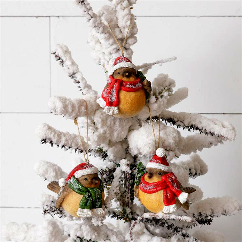 Winter Birds In Santa Hats Christmas Ornaments 7RS883