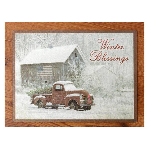 Winter Blessings Glass Cutting Board