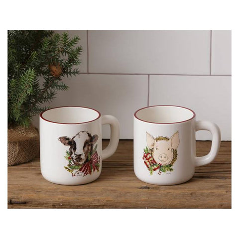 Winter Farmhouse Christmas Cow and Pig Beverage Mugs