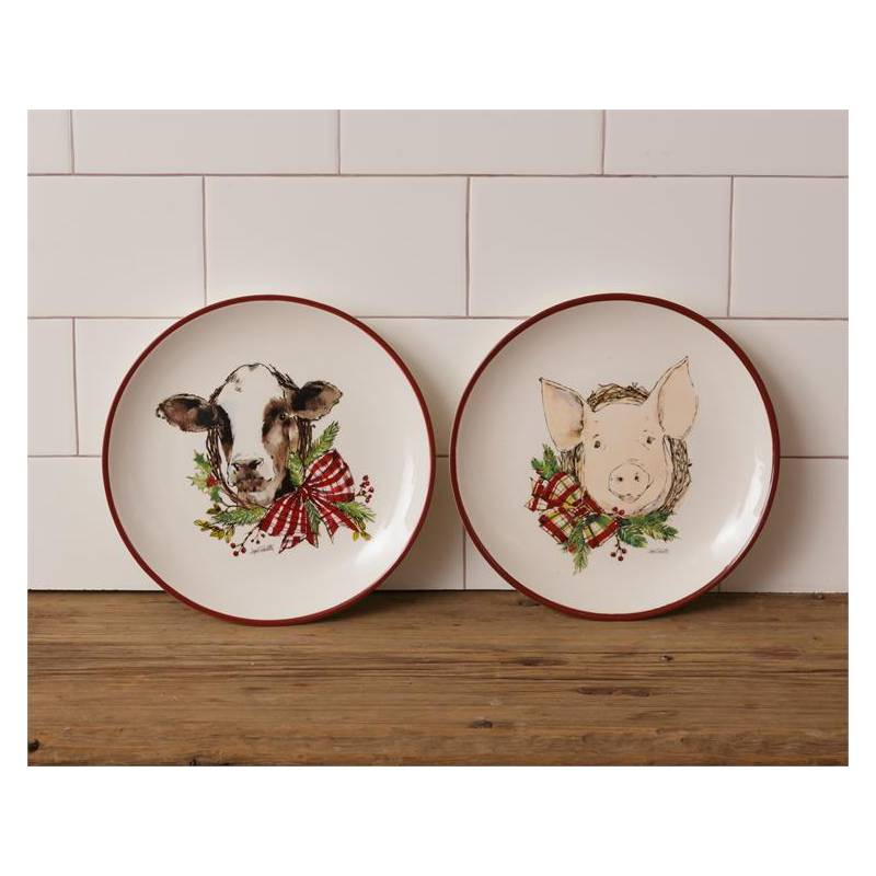 Winter Farmhouse Christmas Cow and Pig Dinner Plates 7PT1169