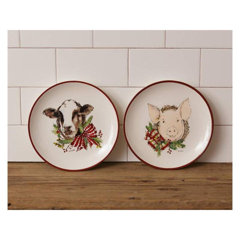 Winter Farmhouse Christmas Cow and Pig Dinner Plates