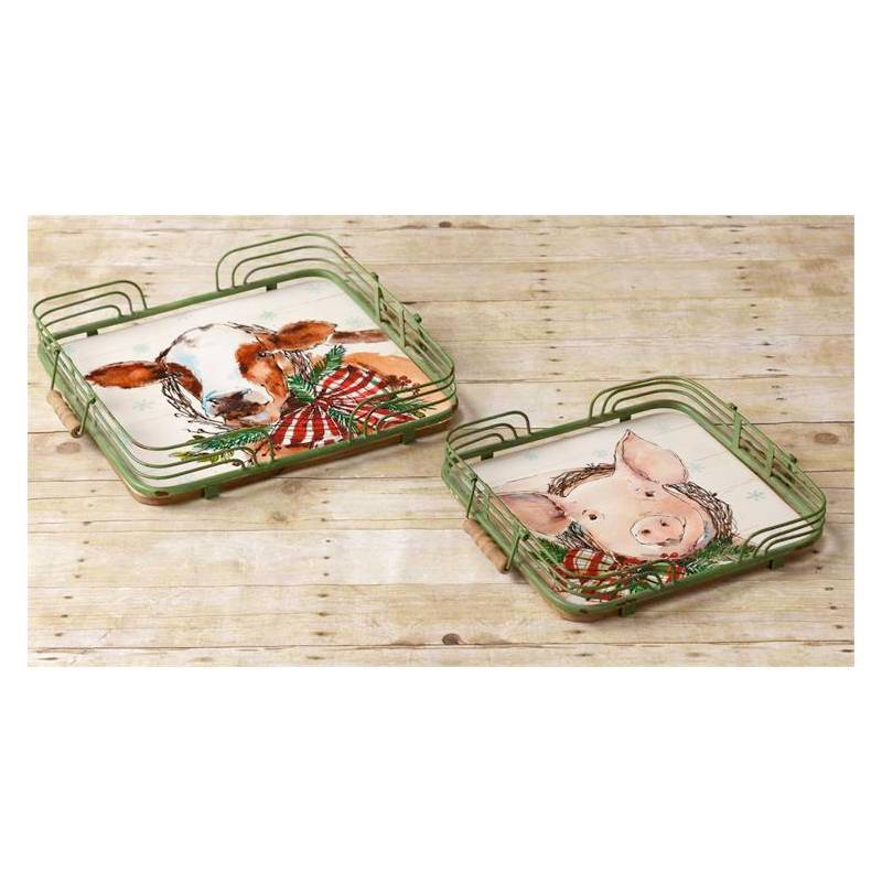 Winter Farmhouse Christmas Cow and Pig Serving Trays 7T1382
