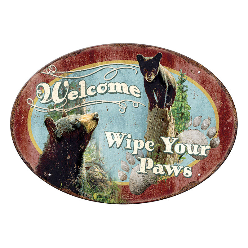 Wipe Your Paws Black Bears Tin Sign 1536