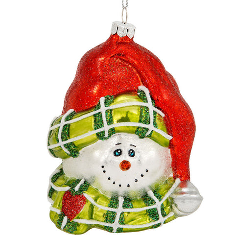 Wrapped Up In Winter Snowman Glass Ornament