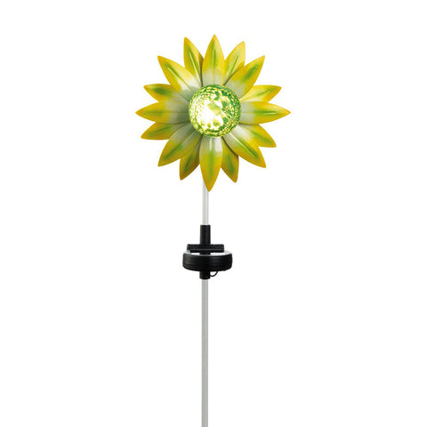 Yellow and Green Flower Solar Garden Stake