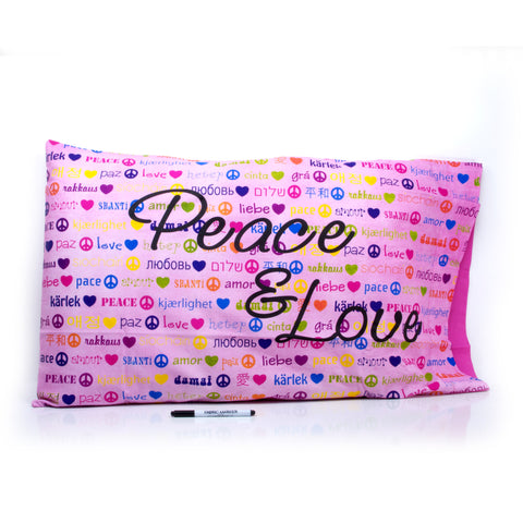 Pillow Case - Peace & Love Pink