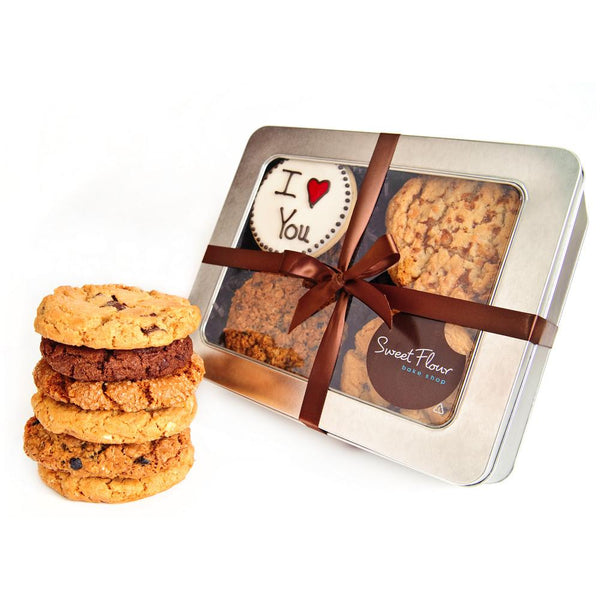 personalized Cookie Tin with gourmet cookies and I love you cookie