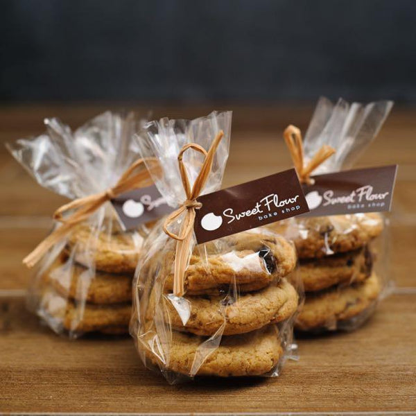 3 gift bags of chocolate chunk minis with raffia and Sweet Flour branded tag