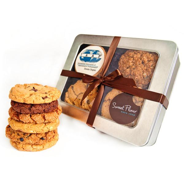corporate logo cookie tin with gourmet signature cookies