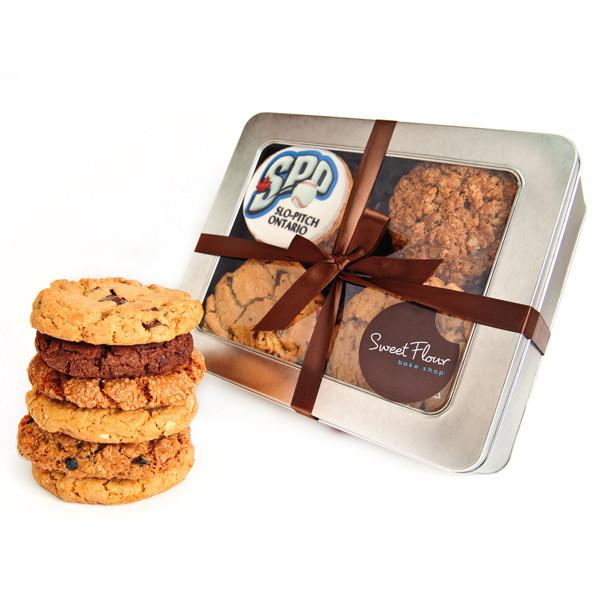 corporate logo cookie tin withgourmet signature cookies