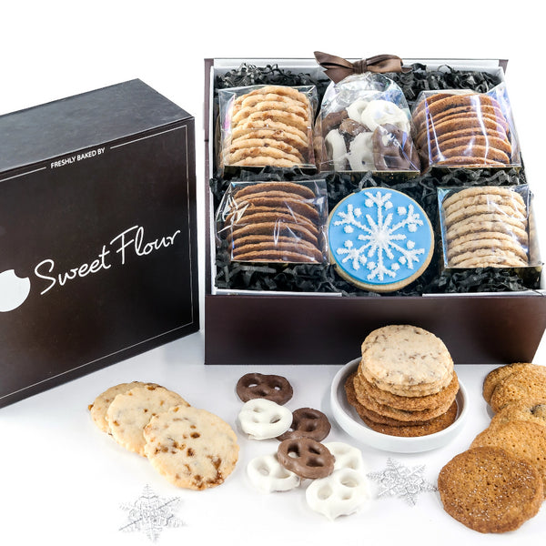 Baker's Select Winter Box - Holiday shortbread and crispy Cookie Gifts with blue snowflake decorated cookie