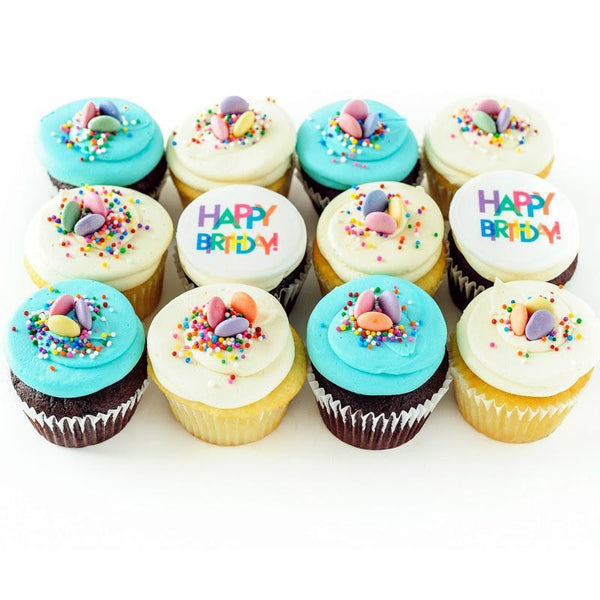 one dozen Party Like It's Your Birthday Cupcakes with Happy Birthday topping and sprinkles
