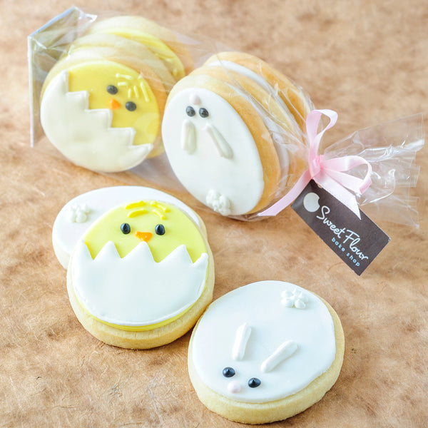 Bag of Decorated Bunnies and Chicks with Sweet Flour tag and pink ribbon