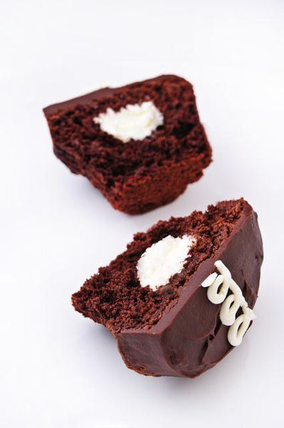 open retro chocolate cupcake