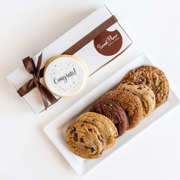Gift Box of Gourmet Cookies with Congrats Decorated Cookie