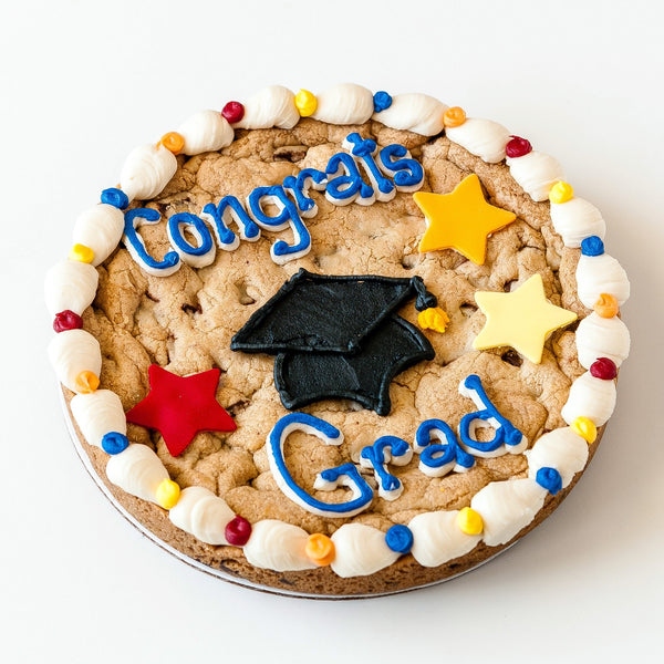Congrats Grad Cookie Cake with Stars and Grad Hat