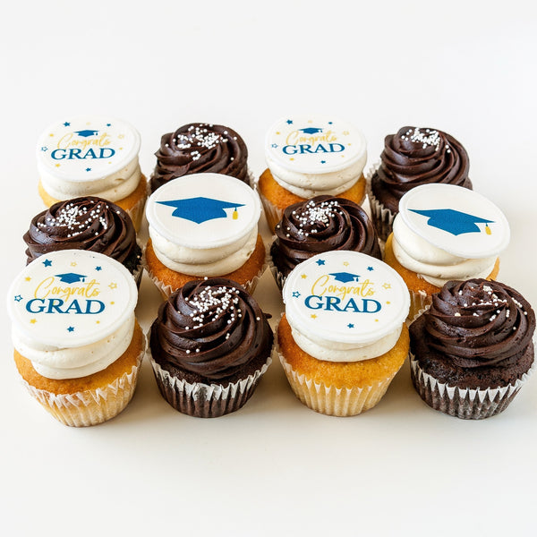 1 Dozen Chocolate and Vanilla Cupcakes with Congrats Grad Topper