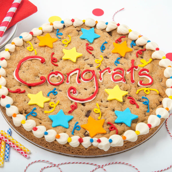 12 inch round chocolate chip Cookie Cake Congrats message in buttercream and confetti and stars