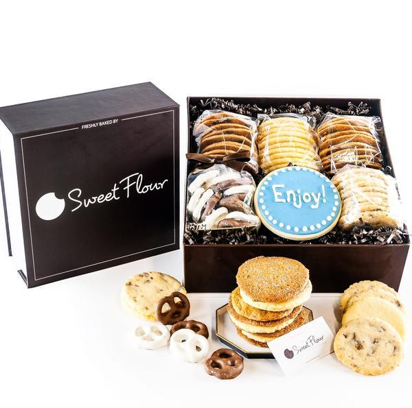 Baker's Select Gift Box -  branded brown cookie gift box with crispy and shortbread cookies with Enjoy decorated sugar  cookie