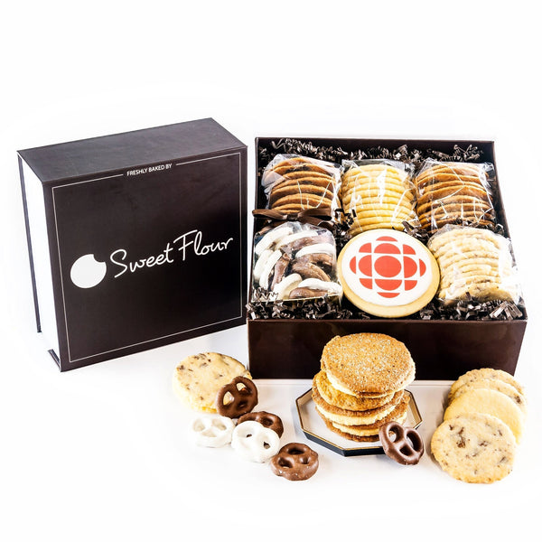 Bakers Select Gift Box with chocolate and yogurt covered pretzels, shortbread and crispy cookies with logo cookie