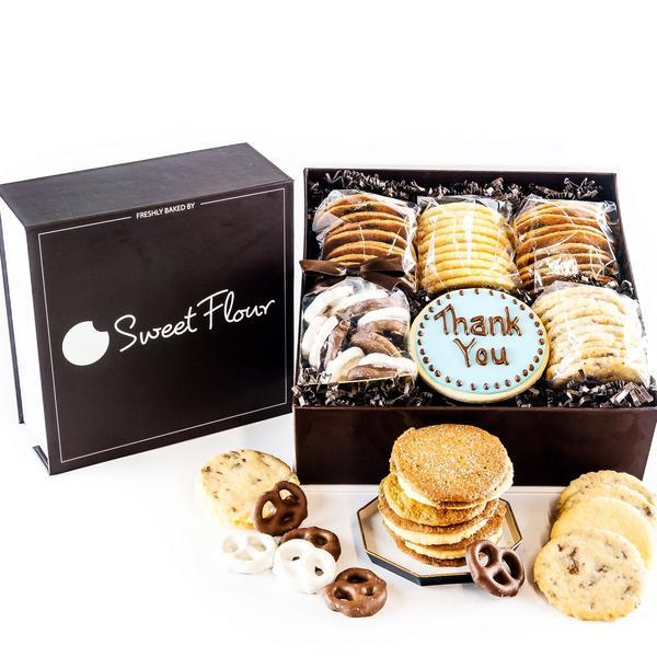 Baker's Select Gift Box - branded  brown cookie gift box with crispy and shortbread cookies and Thank You decorated sugar cookie