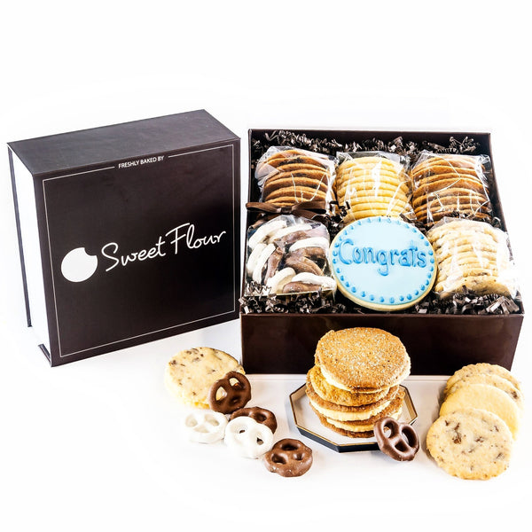 Baker's Select Gif Box - branded brown cookie gift box with crispy and shortbread cookies and Congrats decorated sugar cookie